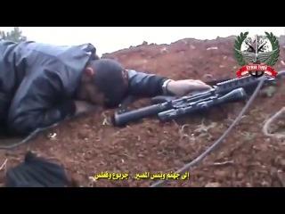 Снайпер.Сирия,точное попадание в голову.