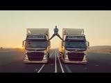 Голливудская звезда, герой боевиков и просто очень хороший спортсмен Жан-Клод Ван Дамм принял участие в тесте грузовиков Volvo. Бельгиец сел на шпагат между двух автомобилей, опираясь ногами на зеркала заднего вида первой и второй машины. Красочный тест демонстрирует новую систему рулевого управления.