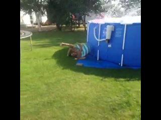 Epic Roof Jump Trampoline Pool Fail