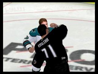NHL 09 Драка ))) Ковальчук и какой то чурка