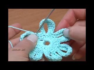 Вязаные цветы Урок 36 Как связать крючком двухсторонние цветы