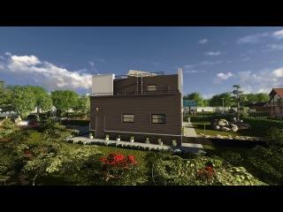Дом из газобетона с плоской крышей: 3D панорама