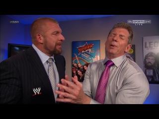 Triple H, Vince and Stephanie McMahon backstage segment WWE Raw 29.07.2013