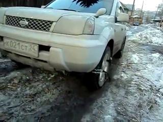 Тест цепей противоскольжения на Nissan X-trail