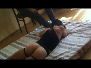 lucky slave on Master's big hot feet and socks