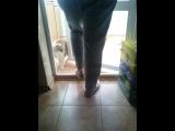 Ахах,персик проверяет,на сколько бабушка хорошо моет стёкла)