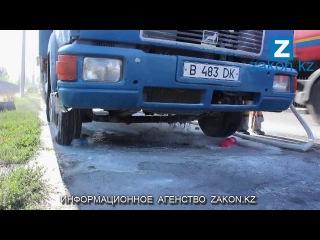 Грузовик Ман загорелся в Алматы