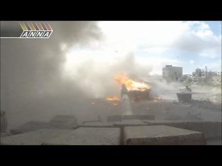 Попадание РПГ-29 в танк Т-64 сирийской армии.