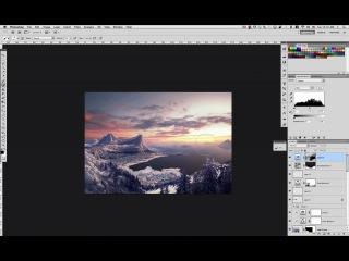 Снежный мэт пейтинг по рисованию горного пейзажа в Photoshop. Урок 8