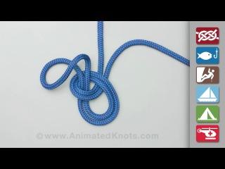 Узлы: булинь на середине веревки