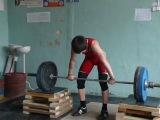 Тяжёлая атлетика. Торопов Влад - 14 лет. На грудь в полуприсед+на грудь в сед+Толчок 82.5 кг