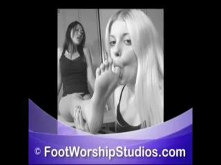 Hot girls licking and tickling feet