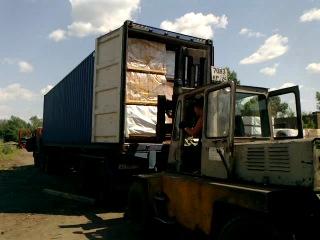 Погрузка 40-футовых контейнеров пиломатериалом на Японию