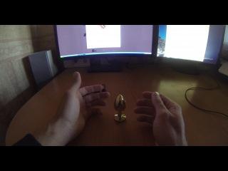 Анальная Пробка Butt Plug Gold Small, цвет голубой