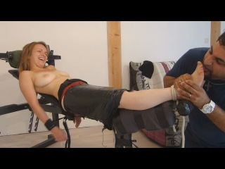 Marielle is mercilessly foot tickled topless