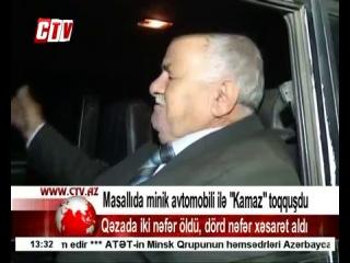 Azərbaycanda minik avtomobili ilə KamAZ toqquşub, iki nəfər ölüb, 4 nəfər xəsarət alıb