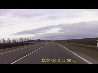 На своём Автомобиле еду по трассе Курганинск 0 Краснодар , тепло , но пасмурно , 1 декабря 2013 г