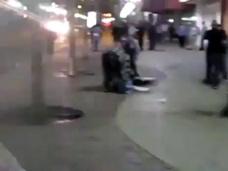 A brutal street fight of crazy drunk people.....shocking video.....