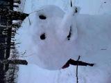 Сделал снеговика вместе с Машей