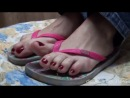 Milf feet in flip flops. Perfect toes and soles