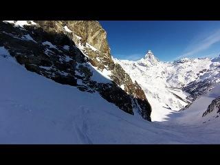 Вертолётный фрирайд в Червинии, с вершины горы