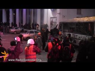 Киев Беспорядки на улице Грушевского в Киеве Украина Евромайдан 19 01 2014