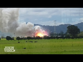 Light up the sky - big explosion in empty field