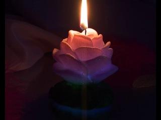 Свеча мигающая хамелеон Роза малая на подсвечнике ароматизированная