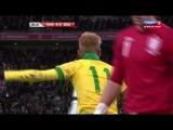 Джо Харт отбивает пенальти от Роналдиньо.