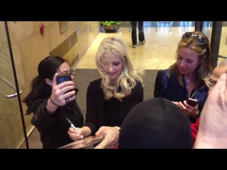 Sarah Michelle Gellar signing and posing with fans in New York
