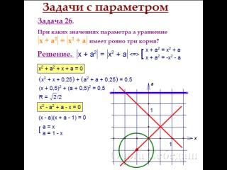 ЕГЭ - тренер | Математика: Задача 18 - Уравнение, модули, ровно три корня (из диска по задачам 16, 18, 19).