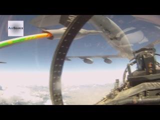 Полёт и заправка в воздухе истребителя  F-15E (вид из кабины)