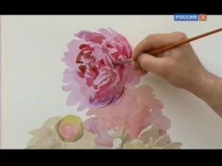 Уроки рисования с Сергеем Андриякой. Пионы в акварели. Серия 10