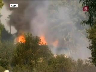 лесной пожар в пригороде Лос-Анджелеса ( США)