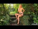 Hayley Marie in lingerie outside