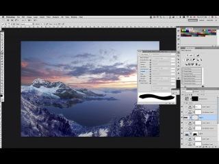 Снежный мэт пейтинг по рисованию горного пейзажа в Photoshop. Урок 1