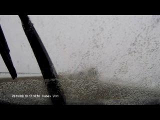 Обдало грязюкой всю машину и выбило туманку!