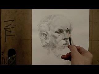 портрет рисунок углём