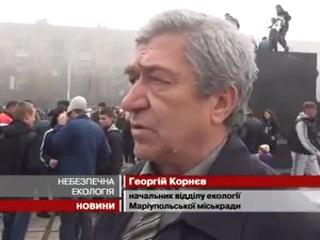 24tv.ua: Несколько тысяч мариупольцев вышли на митинг в противогазах