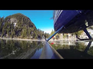 Вертолёт скользит (дрифтует) по льду озера Widgeon/ Ice Slide by the helicopter(near hockey)
