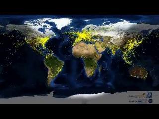 Мировое движение самолётов за сутки.