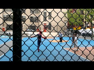 Andrew Garfield crossover dribble and jump shot. Amazing Spiderman 2 in Chinatown Basketball