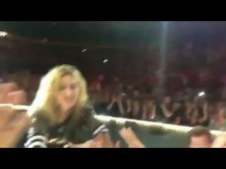 Во время исполнения песни Like a Prayer в Далласе (21.10.2012) , фанат потянул руку Мадонны и она упала