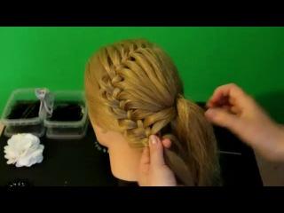 Плетение косичек - Ажурная коса с цветком из волос