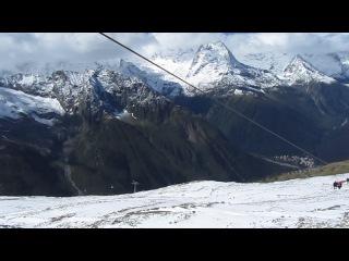 Домбай - спуск с 3012м до 2500м на канатке