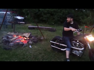 Harley Davidson vs костер How to light a fire with Harley