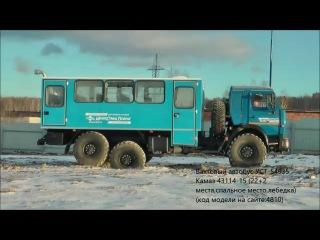 Вахтовый автобус УСТ-54535 Камаз 43114-15 (22+2 места,спальное  место,лебедка) (код модели на сайте:4810)