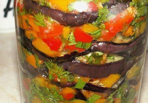 Салат из баклажанов на зиму слоями рецепт