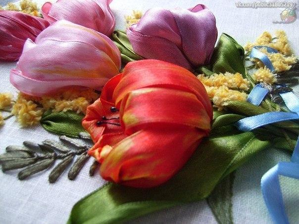 ✨ Вышивка лентами красивые цветы ============================== ✂ #hand_made #сделай_сам #мастер_классы