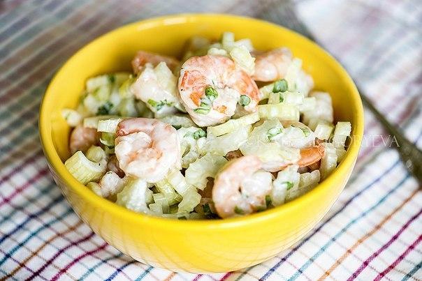 Салаты с яблоками и креветками рецепт